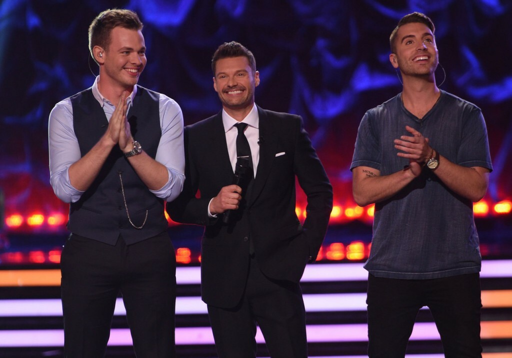 AMERICAN IDOL XIV:  Ryan Seacrest (C) with Clark Beckham (L) and Nick Fradiani (R) on AMERICAN IDOL XIV airing Tuesday, May 12 (9:00 PM-10:00 PM ET/PT) on FOX. CR: Michael Becker / FOX. © FOX Broadcasting. This image is embargoed until 10:00PM PT.
