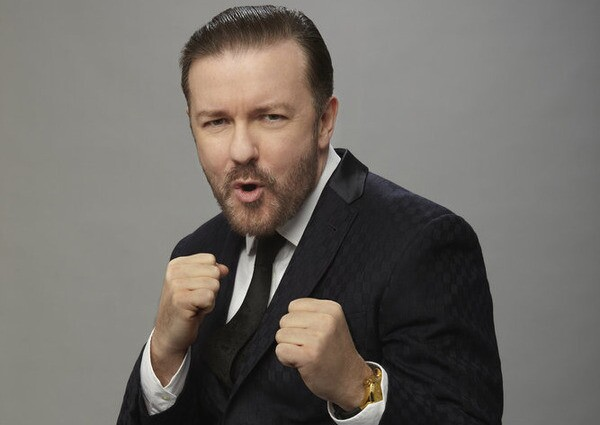 GOLDEN GLOBE AWARDS -- 73rd Annual Golden Globe Awards -- Pictured: Host, Ricky Gervais -- (Photo by: Todd Antony/NBC)