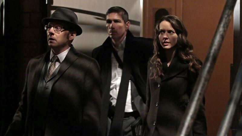 """""""YHWH"""" -- Finch (Michael Emerson, left) and Root (Amy Acker, right) race to save The Machine, which has been located by the rival AI, Samaritan, while Reese (Jim Caviezel, center) is caught in the middle of the final showdown between rival crime bosses Elias and Dominic, on the fourth season finale of PERSON OF INTEREST, Tuesday, May 5 (10:01-11:00 PM, ET/PT) on the CBS Television Network.  Photo: Giovanni Rufino/Warner Bros. Entertainment Inc. © 2015 WBEI. All rights reserved."""