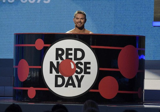 "RED NOSE DAY -- Season: 1 -- Pictured: Kellan Lutz onstage at NBC's ""Red Nose Day"" Charity Event at the Hammerstein Ballroom in New York, NY on May 21, 2015 -- (Photo by: David Giesbrecht/NBC)"