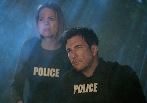 """The Woods"" -- Beth desperately fights for her life after her deranged stalker drags her to a remote cabin in Ojai, leaving Jack (Dylan McDermott, right) and Janice (Mariana Klaveno, left) to frantically search for clues to their location, on STALKER, on a special night and time, Monday, April 27 (9:00-9:59 PM, ET/PT) on the CBS Television Network.  Photo: Neil Jacobs/CBS ©2015 CBS Broadcasting, Inc. All Rights Reserved"