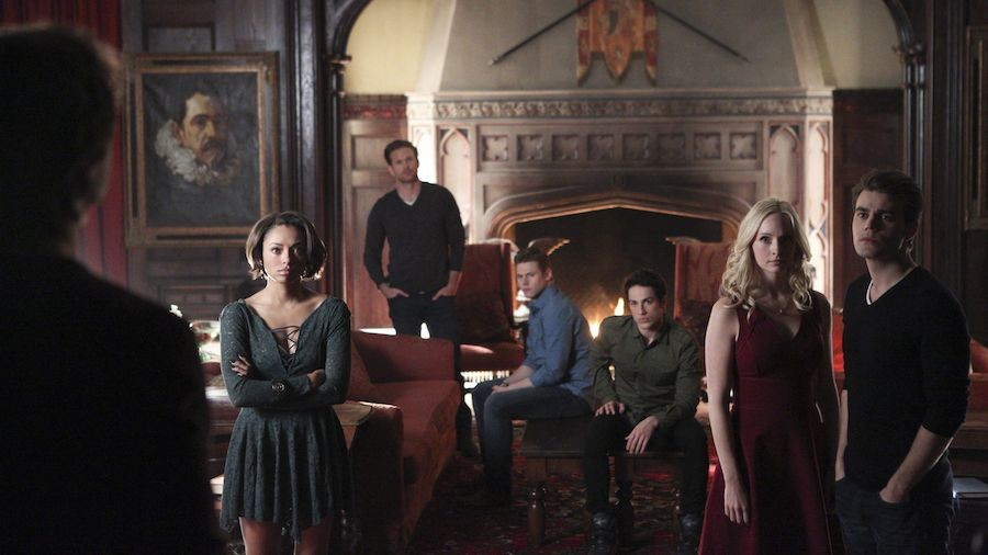 "The Vampire Diaries -- ""I'm Thinking of You All The While"" -- Image Number: VD622b_0009.jpg -- Pictured (L-R): Ian Somerhalder as Damon (back to camera), Kat Graham as Bonnie, Matt Davis as Alaric, Zach Roerig as Matt, Michael Trevino as Tyler, Candice Accola as Caroline and Paul Wesley as Stefan -- Photo: Annette Brown/The CW -- © 2015 The CW Network, LLC. All rights reserved."